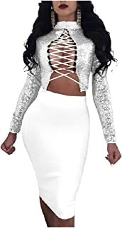 Howely Women Long-Sleeve Lace Up High Waist Skirt Set 2-Piece Outfit