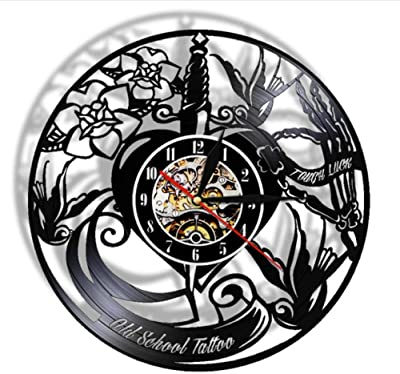 clockfc Tattoo Studio Vinyl Record Reloj de Pared Pedido ...