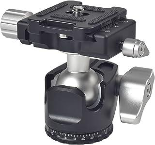 DASKOO D-25R - Cabezal de bola de perfil bajo + pinza giratoria 360º + zapata rápida de aleación de aluminio para cámara sin espejo cámara réflex digital y cabezal de trípode