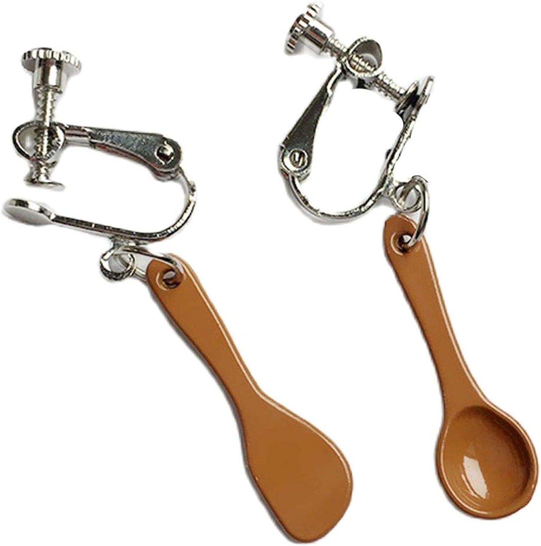 Handmade Wooden Spoon Fork Drop Earrings Creative Spatula Weird Quirky Simulated Fork Spoon Cartoon Earrings Jewelry for Women Girls