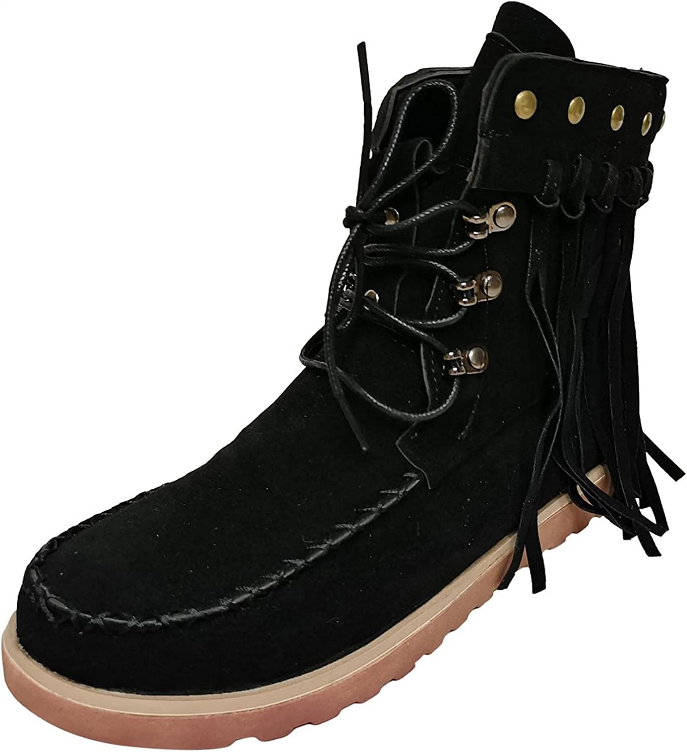 UOCUFY Ankle Boots for Women Slip Lace-up Tassel on Roun Fashion Virginia Beach Mall Very popular!