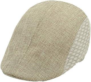 f9a0a7dabfb TONSEE Mens Women Vintage Beret Cap Newsboy Flax Sunscreen Hat
