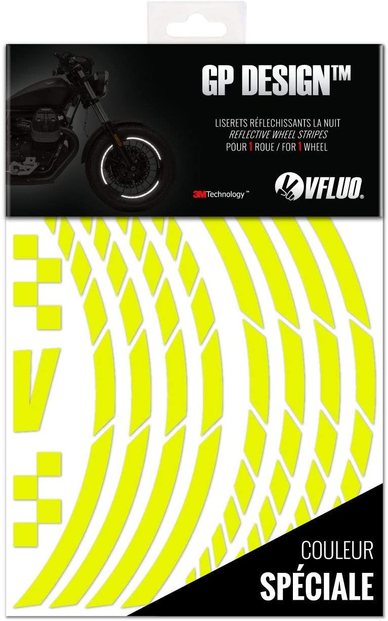 VFLUO GP Design, 1 Ruota Pacco da 2 Kit Strisce Adesivi rifrangenti//Riflettenti per Cerchioni Moto Nero 3M Technology Larghezza : 7 mm