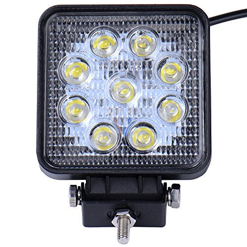 Viugreum 27W 2700LM Platz LED Arbeitsscheinwerfer, 12V 24V LED Offroad, Flutlicht Reflektor Scheinwerfer Arbeitslicht für SUV Truck Car und mehr, IP67 Scheinwerfer Rückfahrscheinwerfer
