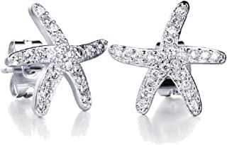 Crystals from Swarovski White Starfishes Stud Earrings 18 ct White Gold Plated for Women and Girls
