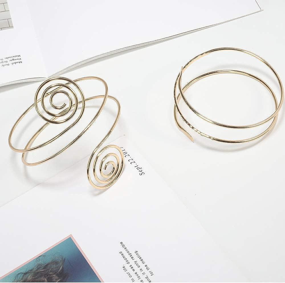 VALIJINA 2Pcs Minimalist Simple Swirl Upper Arm Cuff Bracelets for Women Girls Arm Bangle Armlets Adjustable