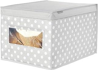 mDesign boîte de rangement en tissu (grand) – panier de rangement avec motif à pois pour ranger vos vêtements – bac de ran...
