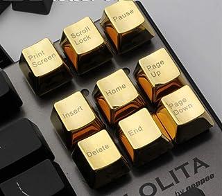 Keycaps メカニカルキーボードメタルキーキャップシルバーゴールド37キー/ 14 / Fエリア/機能エリア/ファンクションエリア/ラージキーポジション/ナンバー(カラー:ゴールドS 14キー、サイズ:11) (色 : Gold 9key,...