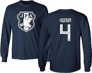 Japan 2018 National Soccer #4 Keisuke Honda World Championship Men's Long Sleeve T-Shirt