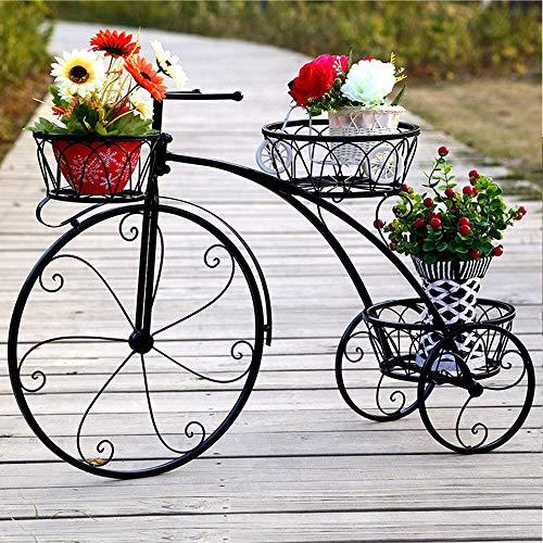 YOGANHJAT Estanteria para Macetas, Soporte para Macetas de Hierro con Diseño de Bicicleta para Decoración Exterior Interior Jardín Baño de 3 Pisos Metal Plant Stand,Negro