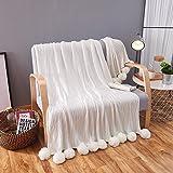 kivie Réversible 100% Coton Couverture tricotée avec Pompons pour lit/canapé/chaises/voiture (150cm x 200cm, blanc)