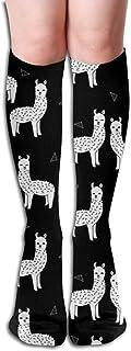 akingstore, Alpaca Blanco y negro Guardería Niños Animales lindos Mujeres Tubo Rodilla Muslo Medias altas Calcetines Cosplay 50cm (19.6 pulgadas)