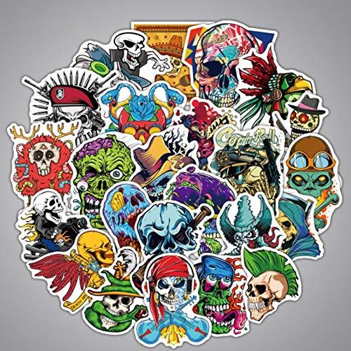 100PCS 10/30 / 50pcs Skull Creative Boy Hip Hop Punk Punk Pegatina Periférica Equipaje Trolley de Dibujos Animados al por Mayor estéticas (Color : 50PCS)