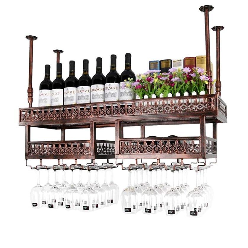 一時的正義シャンパンバーユニットフローティング棚天井ワインラック、ぶら下げワイングラスホルダー、素朴なワインホルダー、ワインラックぶら下げガラスホルダー、工業用ホームデコレーションデザイン (Color : Brown, Size : 120×31cm)