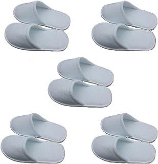 Cosanter 5 Paires Chaussons Pantoufles Universels Blanc pour Hôte Voyage