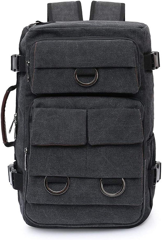 Large-Capacity Canvas Men's Shoulder Bag Outdoor Men's Travel Bag Casual Business Men's Computer Bag (color   Black, Size   27  19  45cm)