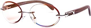 VINTAGE WOOD COLLECTION Wood Sunglasses for Men Gold Frames, Genuine Brown Cherry Wood, Oval Orange Beveled Lens, Rimless Shades