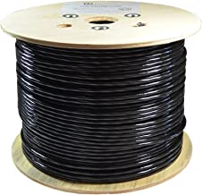 Dripstone Bare Copper 1000ft CAT6 Outdoor/Direct Burial Solid Ethernet Cable 23AWG CMX Waterproof Wire HDPE Insulated Polyethylene (PE) Pass Fluke Test for Indoor/Outdoor Installations Drum Black