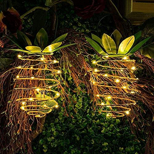 Ittba 2PC LED Luz Solar al Aire Libre Linterna Impermeable Forma piña Lámparas solares Colgantes para Navidad Jardín Árbol Boda Decoración Familiar 24 / 30Led(24led-2pcs)