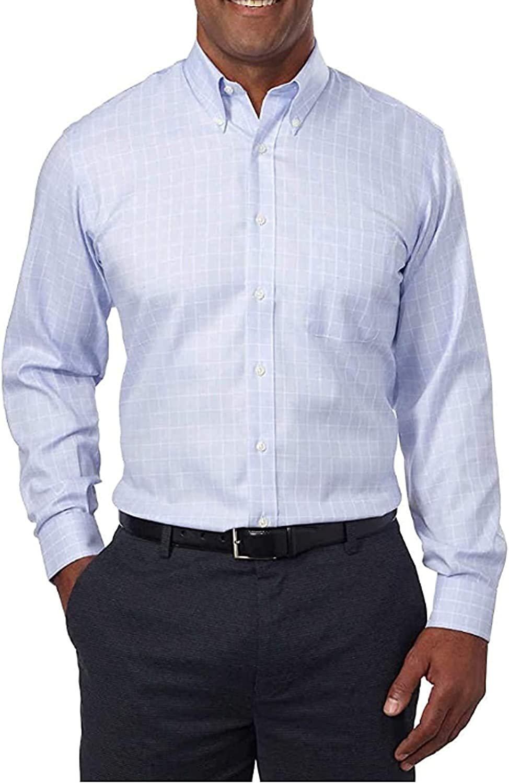 Kirkland Signature Men's Non Iron Button Down Dress Shirt (Blue White Plaid, 16 x 34/35)