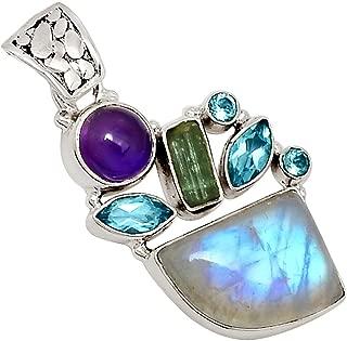 Rainbow Moonstone, Amethyst & Green Tourmaline 925 Silver Pendant Jewelry 1 5/8