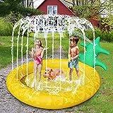 lunaoo Splash Pad, Sprinkler Wasser-Spielmatte Splash Play Matte, Faltbare Outdoor Sommer Garten Aufblasbares Wasserspielzeug Spielmatte Sprinkler Pad Pool für Baby und Kinder