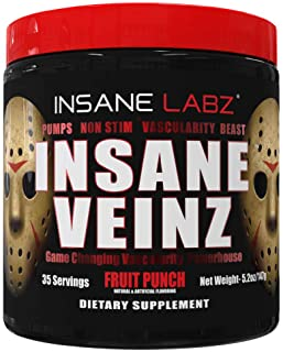 Sponsored Ad - Insane Labz Insane Veinz Non Stimulant NO Enhancing Powder, Nitric Oxide Booster, Loaded with Agmatine Sulf...