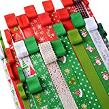 26pz Nastro Natalizio Nastrini Colorati Poliestere Decorativo per Fai da Te Natale Feste Regalo Bomboniere (1m/pezzo)