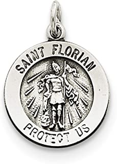 925 Sterling Silver Saint Florian Medal Pendant Charm Necklace Religious Patron St Fine Jewelry For Women