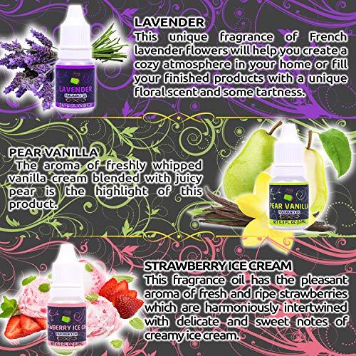 Soap Making Scents - Set of 12 Premium Grade Fragrance Oils - Baked Milk, Coffee, Hawaii, Lavender, Melon, Mint, Ocean, PEAR Vanilla, Strawberry ICE Cream, Summer RAIN, Verbena, Wild Berry.