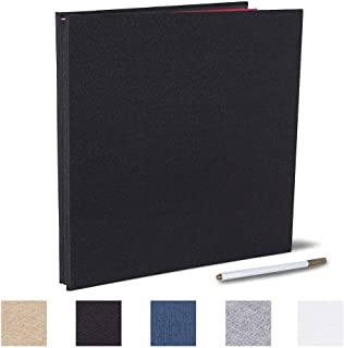 Self Adhesive Photo Album 13x12.6 inches Magnetic Scrapbook 40 Pages with a Metallic Pen (Linen Black, 13x12.6 inches)