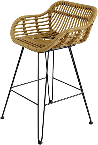 PanCF Bar Stools Iron Wrought Woven Cushion Bar Chair Stool Modern Dining Chair Suitable For Bar Cafe Restaurant Front Deskliving Room