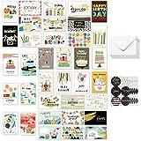 36 Tarjetas de Feliz Cumpleaños con diferentes diseños, Happy Birthday Tarjeta Cumpleaños con 36 sobres 36 pegatinas para adultos y niños, 10 * 15 cm