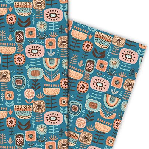 Kartenkaufrausch Folklore Blumen Geschenkpapier Set mit Retro Blumen für liebevolle Geschenk Verpackung 32 x 48cm, 4 Bögen zum Einpacken für Geburtstage, Hochzeit, Dekorpapier, petrol