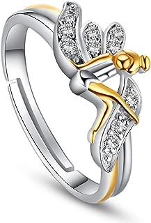 SWEETIEE Anillo de Plata de Ley 925/Ajustable con Corona de Laurel tama/ño Q para Mujer Ajustable