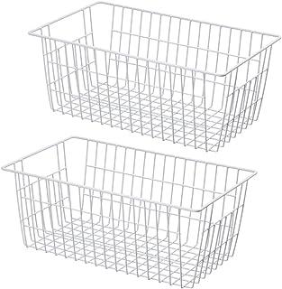 SANNO Metal Storage Organizer Bin Basket Wire Storage Basket for Kitchen Pantry Bathroom Set of 2 Large Metal Farmhouse Fo...