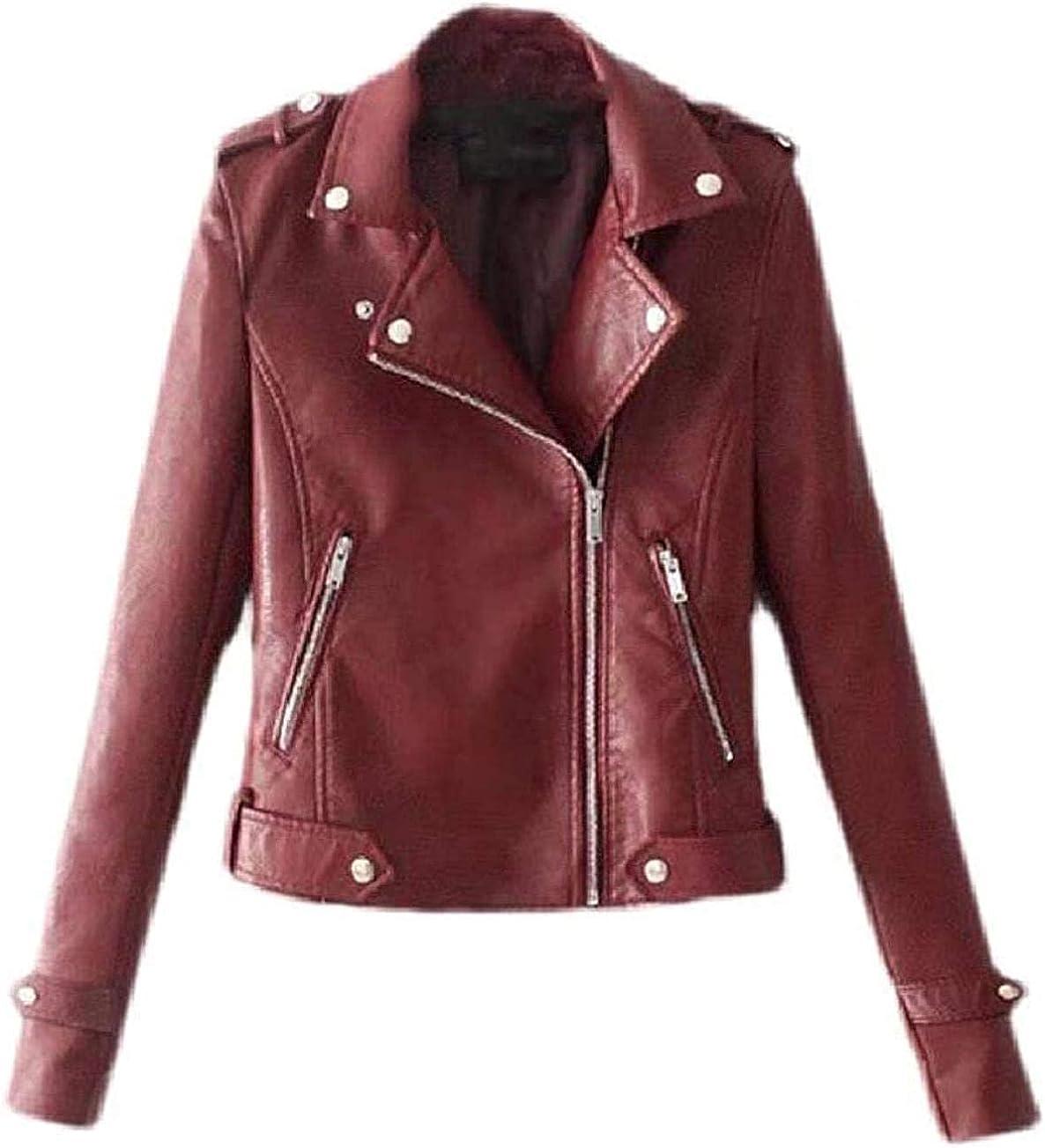 Fllaees Womens Pocket Moto Short Turn Down Collar Zipper PU Leather Jackets