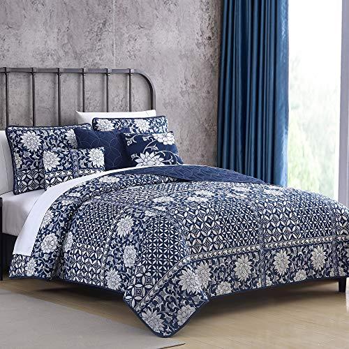 Pacific Coast Textiles 6-Piece Zion Quilt Set, Queen, Denim