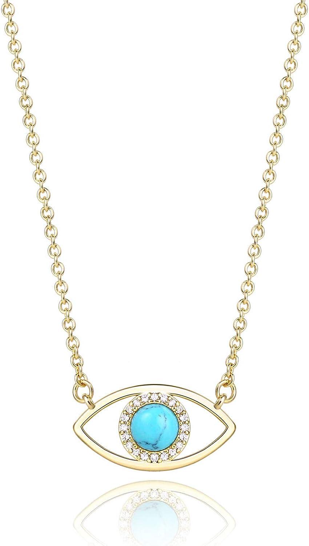 14K Gold Dainty Evil Eye Necklace for Women   Gemstone Necklace   Real Crystal Necklace for Women