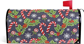 ALAZA Christmas Snowflake Holly Berries Candy Cane Magnetic Mailbox Cover MailWraps Garden Yard Home Decor for Outside Oversized-25.5