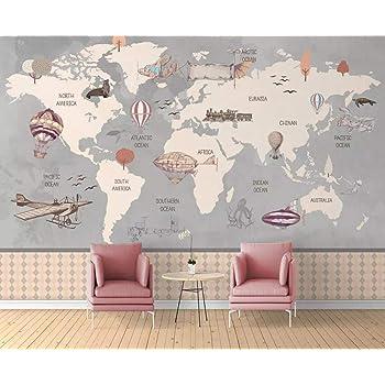 Pared Papel 3D Papel Pintado Murales Mapa Del Mundo Dibujado A Mano Náutico Globo Aerostático Dormitorio Sala Tv Fondo Decoración de Pared decorativos Murales: Amazon.es: Bricolaje y herramientas