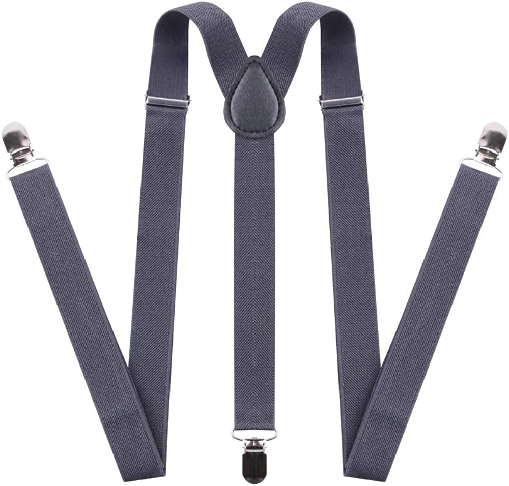 Suspenders for Men and Women - Adjustable Tall stature Elastic Y Back Style With Strong Metal Clips