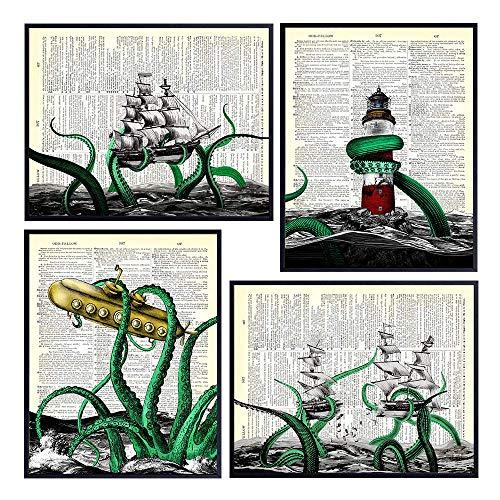 Nautical Octopus Home Decor - Wall Art Decoration for Beach or Ocean House, Bathroom - Vintage Ship Lighthouse Kraken Dictionary Art - Funny Gift for Steampunk Fan - 8x10 UNFRAMED Set