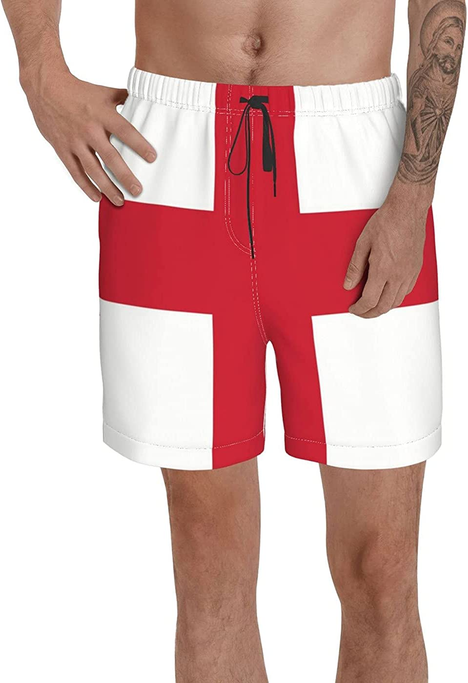 Count England Flag Men's 3D Printed Funny Summer Quick Dry Swim Short Board Shorts with