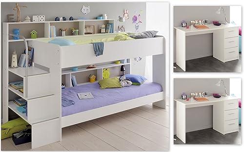 expendio Kinderzimmer Twin 64 Weiß Etagenbett 2X Schreibtisch Bett PC Tisch Kinderzimmer Jugendzimmer