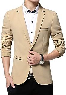 KIMILILY Men's Slim Fit One Button Solid Blazer Business Jacket Casual Suit Coats
