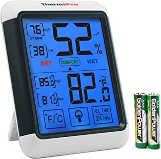 ThermoPro FBA_TP-55 Digital Hygrometer Indoor Thermometer Gauge with Jumbo Touchscreen..