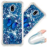 COTDINFORCA J5 Pro Case, Cute Painted Glitter Liquid Sparkle Floating Bling Quicksand Shockproof Protective Bumper Silicone Case Cover for Samsung Galaxy J5 Pro 2017 SM-J530. Liquid - Blue Butterfly