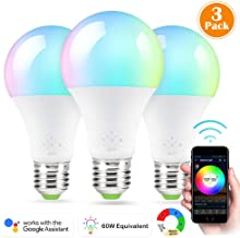 LED Smart Bulb, 3 Pack Nexlux Sunrise Wake-up WiFi Lights,Cellphone Control Color Tunable Soft,Cool White,RGB Led Light Bulb 6.5W, Compatible with Alexa and Google Assistant
