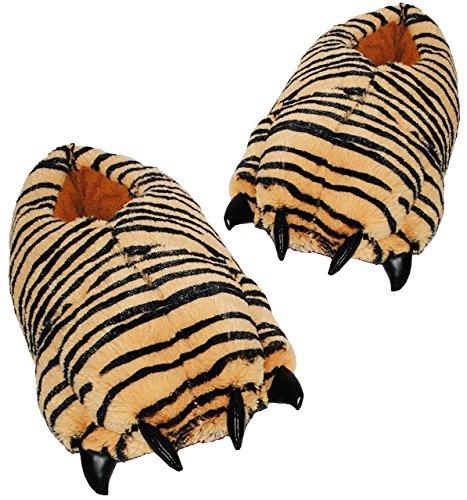 alles-meine.de GmbH Plüschhauschschuhe / warme Hausschuhe -  Tiere - Pfote Tiger  - Größen 39 - 40 - 41 - 42 - für Kinder + Erwachsene - Plüsch Hausschuh extra warm & super wei..